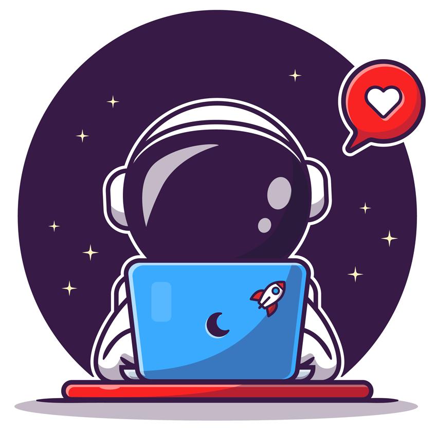 Astronauta cartoon con laptop