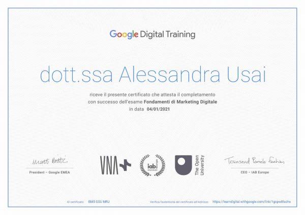 Certificato Google - Digital marketing
