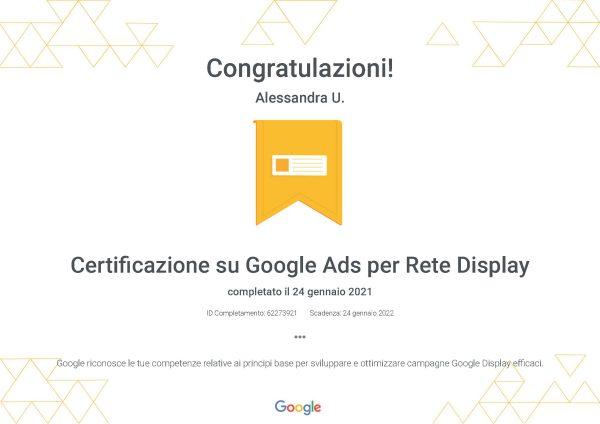 Certificazione Google Ads - Rete display